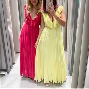 Zara yellow long dress with pleats